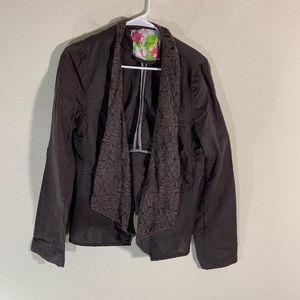 Free People Linen Open Blazer Jacket Brown 12